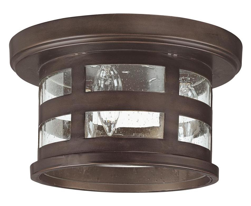 Capital Burnished Bronze 3 Light Energy Star Outdoor Flush Mount Ceiling Fixture Burnished