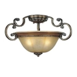 "Brompton Collection 3-Light 20"" Brompton Bronze Semi-Flush with Dover Mist Glass 4333-561"