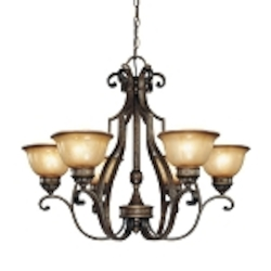"Brompton Collection 6-Light 31"" Brompton Bronze Chandelier with Dover Mist Glass 4336-561"