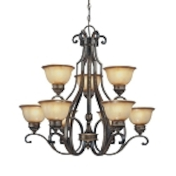 "Brompton Collection 9-Light 37"" Brompton Bronze Chandelier with Dover Mist Glass 4339-561"