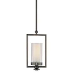 "Harvard Ct. Collection 1-Light 20"" Harvard Ct. Bronze Mini Pendant with Clear and Etched Opal Glass 4361-281"