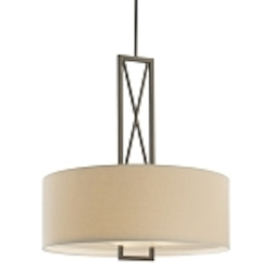 "Harvard Ct. Collection 3-Light 30"" Harvard Ct. Bronze Pendant with White Linen Shade 4362-281"
