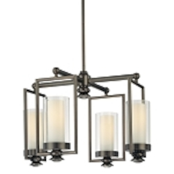 "Harvard Ct. Collection 4-Light 20"" Harvard Ct. Bronze Chandelier with Clear and Etched Opal Glass 4363-281"