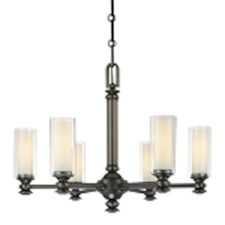 "Harvard Ct. Collection 6-Light 26"" Harvard Ct. Bronze Chandelier with Clear and Etched Opal Glass 4366-281"