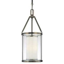 "Harvard Ct. Collection 3-Light 27"" Harvard Ct. Bronze Pendant with Clear and Etched Opal Glass 4367-281"