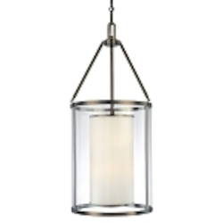 "Harvard Ct. Collection 6-Light 37"" Harvard Ct. Bronze Pendant with Clear and Etched Opal Glass 4368-281"