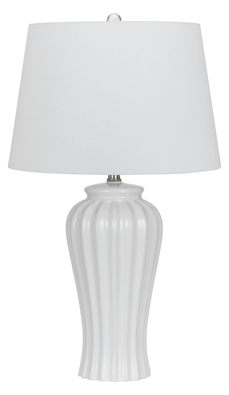 Cal lighting 150w eunice ceramic table lamp white bo for 150 w table lamp