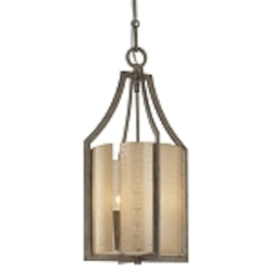 "Clarte Collection 3-Light 23"" Patina Iron Pendant with Deep Spumanti Lace Glass 4392-573"