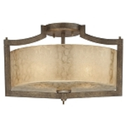 "Clarte Collection 3-Light 17"" Patina Iron Semi-Flush with Deep Spumanti Lace Glass 4397-573"