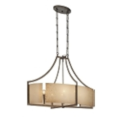 "Clarte Collection 6-Light 36"" Patina Iron Oval Pendant with Deep Spumanti Lace glass 4398-573"