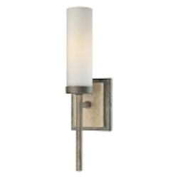 "Compositions Collection 1-Light 15"" Aged Patina Iron Wall Sconce with Travertine Stone and Etched Opal Glass 4460-273"