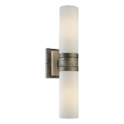 "Compositions Collection 2-Light 18"" Aged Patina Iron Wall Sconce with Travertine Stone and Etched Opal Glass 4462-273"