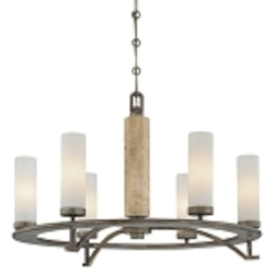 "Compositions Collection 6-Light 27"" Aged Patina Iron Chandelier with Travertine Stone and Etched Opal Glass 4466-273"