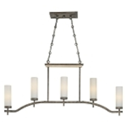 "Compositions Collection 5-Light 42"" Aged Patina Iron Island Light with Travertine Stone and Etched Opal Glass 4469-273"