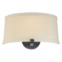 "Ansmith Collection 1-Light 12"" Aged Kinston Bronze Wall Sconce with Beige Linen Shade 4490-298"