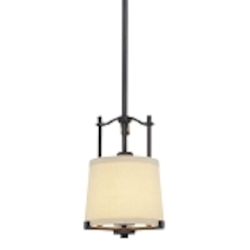 "Ansmith Collection 1-Light 20"" Aged Kinston Bronze Mini Pendant with Beige Linen Shade 4491-298"