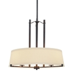 "Ansmith Collection 3-Light 24"" Aged Kinston Bronze Pendant with Beige Linen Shade 4493-298"