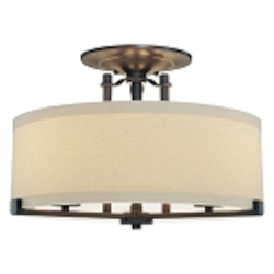 "Ansmith Collection 3-Light 18"" Aged Kinston Bronze Semi-Flush with Beige Linen Shade 4499-298"