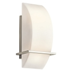 "Crescent View Collection 2-Light 6"" Brushed Nickel Energy Saving Wall Sconce with Opal Etched Glass 45217NI"