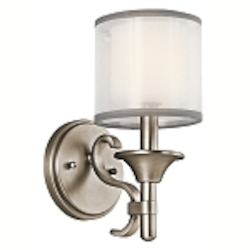 "Lacey Collection 1-Light 10"" Antique Pewter Wall Sconce with Satin-Etched Cased Opal Inner Diffusers and White Translucent Organza Outer Shades 45281AP"