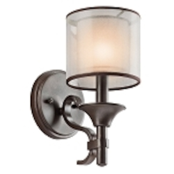 "Lacey Collection 1-Light 10"" Mission Bronze Wall Sconce with Satin-Etched Inner Diffusers and Light Umber Translucent Organza Outer Shades 45281MIZ"