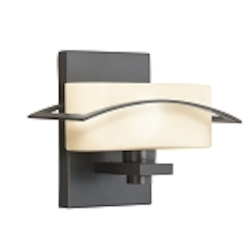 "Suspension Collection 1-Light 9"" Black Wall Sconce with Satin-Etched Cased Opal Glass 45315BK"
