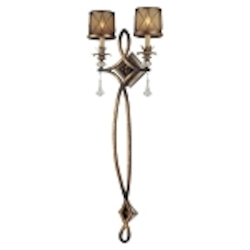 "Aston Court Collection 2-Light 44"" Aston Court Bronze Pin-up Wall Sconce with Avorio Mezzo Glass 4742-206"