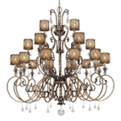"Aston Court Collection 21-Light 60"" Aston Court Bronze Chandelier with Avorio Mezzo Glass 4759-206"