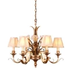 "Tivoli Collection 6-Light 28"" Tivoli Silver Chandelier with Pinch Pleat Shades, Oro Bianco Venetian Glass and 24K Gold Accents 49-06"