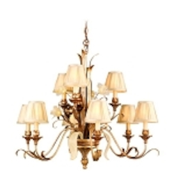 "Tivoli Collection 9-Light 36"" Tivoli Silver Chandelier with Pinch Pleat Shades, Oro Bianco Venetian Glass and 24K Gold Accents 49-09"