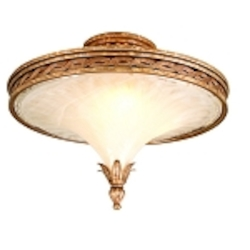 "Tivoli Collection 3-Light 20"" Tivoli Silver Semi-Flush Mount with Oro Bianco Venetian Glass and 24K Gold Accents 49-31"