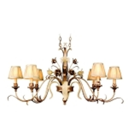 "Tivoli Collection 6-Light 46"" Tivoli Silver Island Chandelier with Pinch Pleat Shades, Oro Bianco Venetian Glass and 24K Gold Accents 49-53"