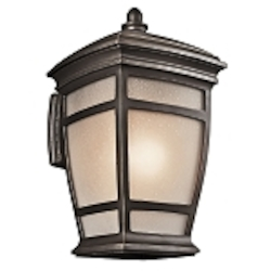 "McAdams Collection 1-Light 21"" Rubbed Bronze Outdoor Wall Light with Light Umber Etched Seedy Glass Shade 49273RZ"