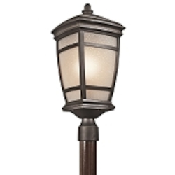 "McAdams Collection 1-Light 22"" Rubbed Bronze Outdoor Post Light with Light Umber Etched Seedy Glass Shade 49274RZ"