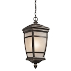 "McAdams Collection 1-Light 22"" Rubbed Bronze Outdoor Hanging Lanterns with Light Umber Etched Seedy Glass Shade 49276RZ"