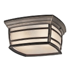 "McAdams Collection 2-Light 11"" Rubbed Bronze Outdoor Ceiling Light with Light Umber Etched Seedy Glass Shade 49277RZ"