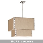 "Elise Series 5-Light 22"" Square Fabric Shaded 2-Tier Pendant or Flush Mount with Crystal Accents 521869"