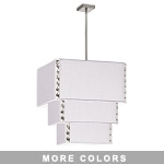 "Elise Series 8-Light 31"" Square Fabric Shaded 3-Tier Pendant or Flush Mount with Crystal Accents 521889"