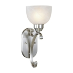 "Paradox Collection 1-Light 15"" Brushed Nickel Wall Sconce with Etched Marble Glass 5420-84"