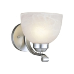 "Paradox Collection 1-Light 8"" Brushed Nickel Wall Sconce with Etched Marble Glass 5421-84"