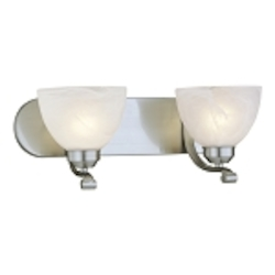 "Paradox Collection 2-Light 18"" Brushed Nickel Wall Sconce with Etched Marble Glass 5422-84"