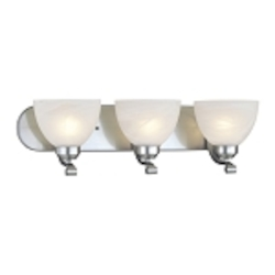 "Paradox Collection 3-Light 24"" Brushed Nickel Bath Vanity Fixture with Etched Marble Glass 5423-84"