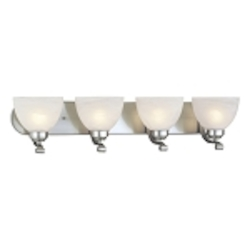 "Paradox Collection 4-Light 30"" Brushed Nickel Bath Vanity Fixture with Etched Marble Glass 5424-84"