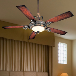Sterling Walnut 5 Blade 56In. Ceiling Fan - Light, Wall Control And Blades Included