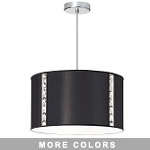 "Elise Series 3-Light 18"" Round Fabric Shaded Pendant or Flush Mount with Crystal Accents 571899"