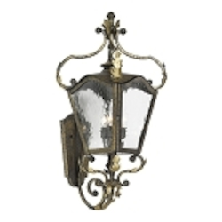 "Acadiana Collection 3-Light 33"" Castle Bronze Wall Lantern with Water Glass 5781-CB"