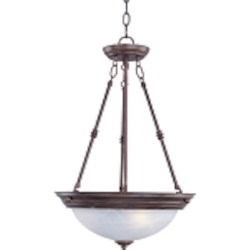 "Essentials Collection 3-Light 24"" Oil Rubbed Bronze Pendant with Marble Glass 5845MROI"