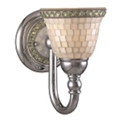 "Piastrella Collection 1-Light 9"" Chrome Bath Vanity Fixture with Mosaic Tile Glass 6051-77"