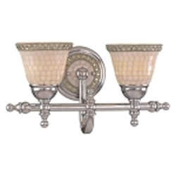 "Piastrella Collection 2-Light 16"" Chrome Bath Vanity Fixture with Mosaic Tile Glass 6052-77"