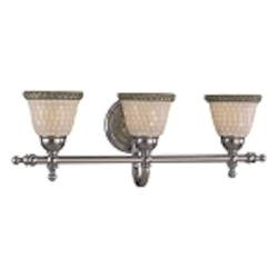 "Piastrella Collection 3-Light 25"" Chrome Bath Vanity Fixture with Mosaic Tile Glass 6053-77"